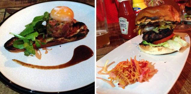 Beef Tatare and Original Burger at The Meat Bar