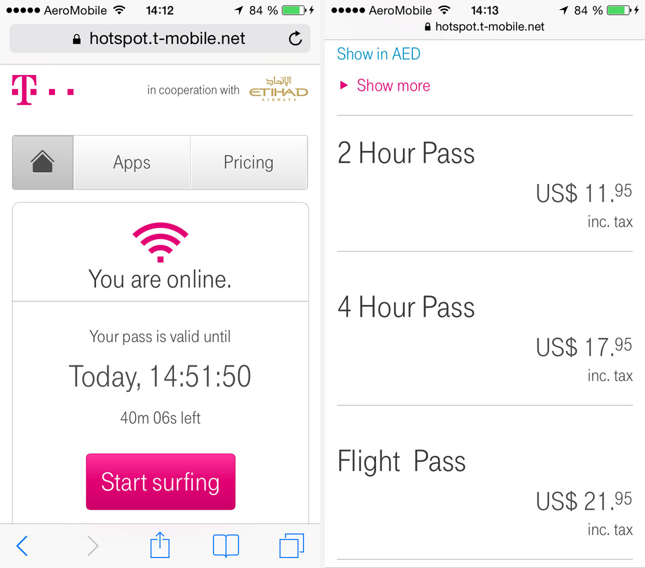 Screenshot T Mobile Hotspot In Cooperation With Etihad