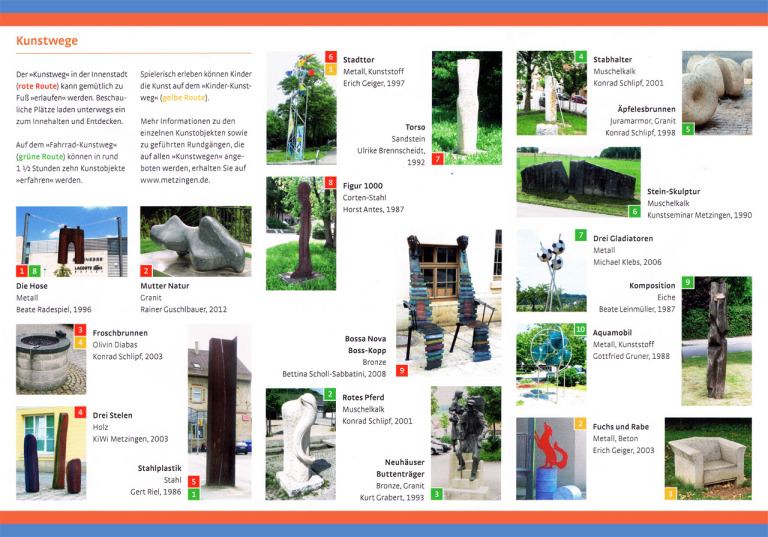 Objects, sculptures and steles in the flyer of the Metzingen art walk
